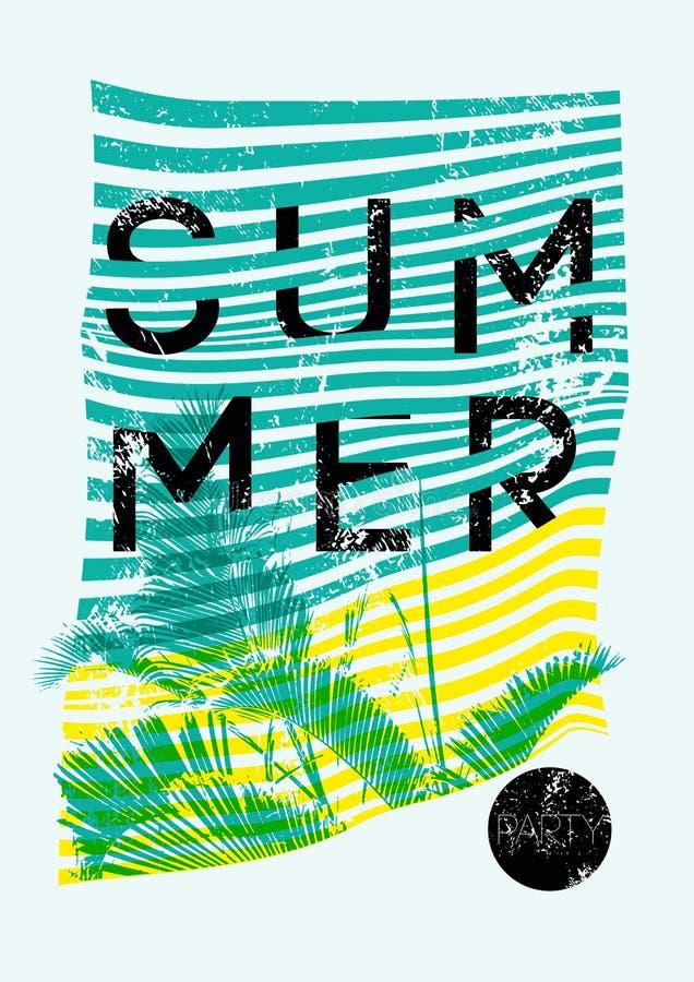 Ontwerp van de grunge uitstekende affiche van de de zomer het Tropische Partij typografische met palmbladen Retro vectorillustrat royalty-vrije illustratie