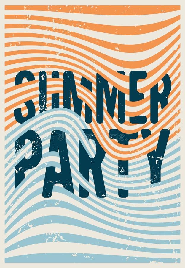 Ontwerp van de grungeaffiche van de de zomerpartij vat het typografische uitstekende met misvormde lijnen geometrische achtergron vector illustratie