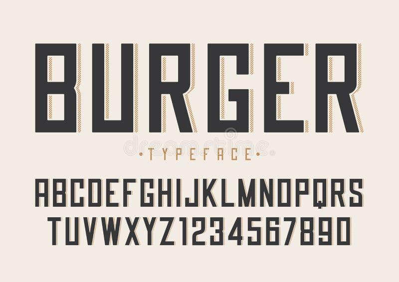 Ontwerp van de hamburger het vector retro regelmatige doopvont, alfabet, lettersoort, type stock illustratie
