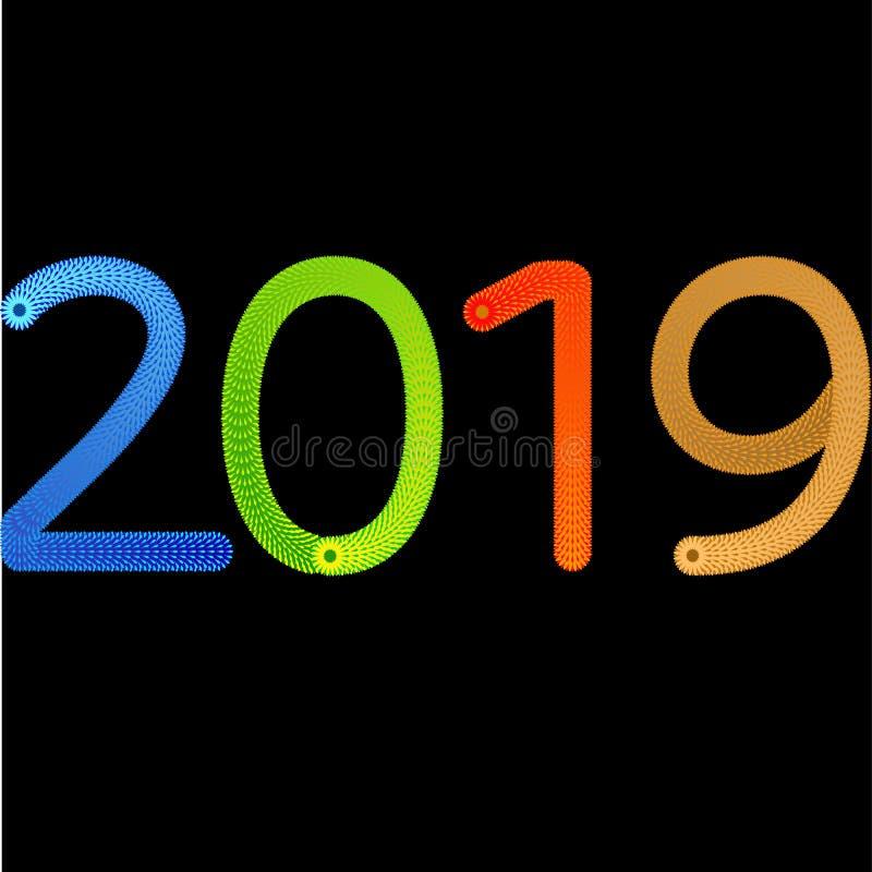 ontwerp van de het jaar abstracte kaart van 2019 het gelukkige nieuwe met gradi?nt royalty-vrije illustratie