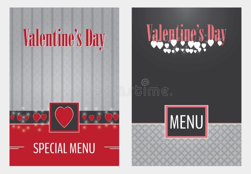 Ontwerp van de het menudekking van de valentijnskaartendag het vector stock foto's