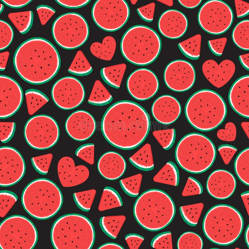 Ontwerp van de het patroonoppervlakte van watermeloenstukken het Naadloze Vectordieillustratie op zwarte wordt geïsoleerd stock illustratie