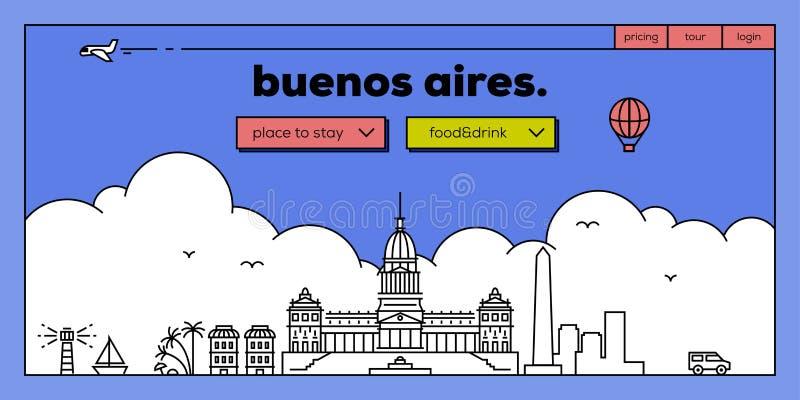 Ontwerp van de het Webbanner van Buenos aires het Moderne met Vector Lineaire Horizon vector illustratie