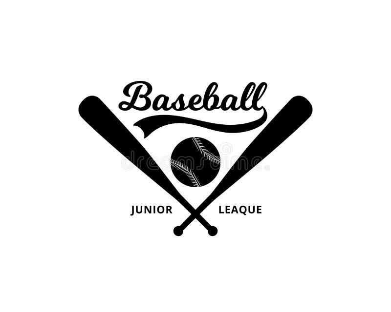 Ontwerp van de honkbal het ondergeschikte liga voor geïsoleerde het embleem vectorillustratie van het sportteam vector illustratie