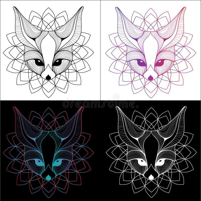 Ontwerp van de de illustratiet-shirt van de Fennecvos tatoeeert het grafische en kleur 4 stock foto