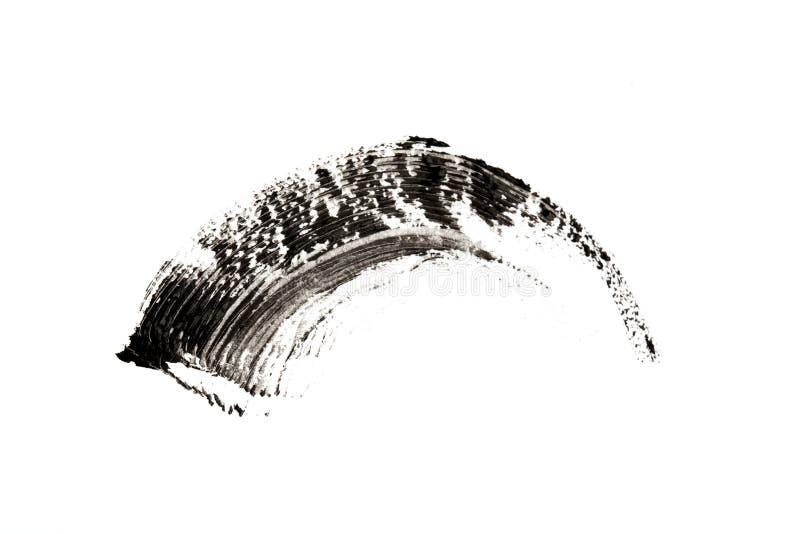 Ontwerp van de de kwaststreektextuur van de samenstellings het kosmetische die mascara op wit wordt geïsoleerd royalty-vrije stock afbeelding