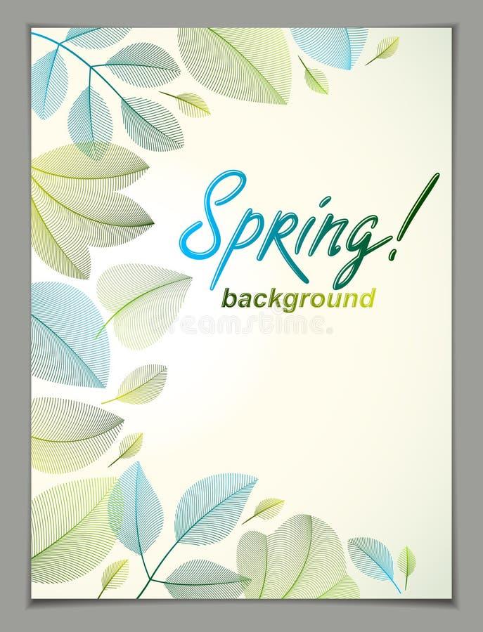 Ontwerp van de de lente het verticale banner, vector groene en verse bladerenflo royalty-vrije illustratie
