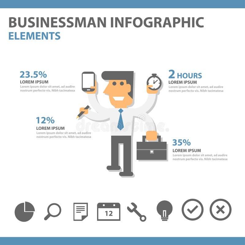 Ontwerp van de malplaatjes plaatste het Abstracte Infographic van de zakenmanpresentatie elementsflat voor het pamflet van de bro vector illustratie