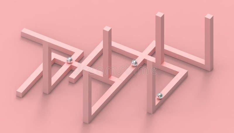 Ontwerp van de de meetkunde Creatieve Opstelling van illusie het onmogelijke vormen op Pastelkleur Roze Achtergrond vector illustratie