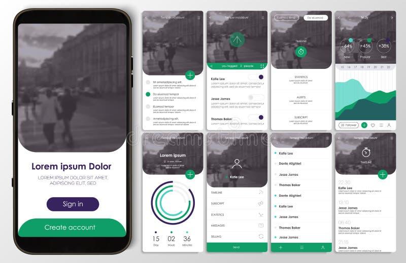 Ontwerp van de mobiele toepassing, UI, UX, GUI stock illustratie