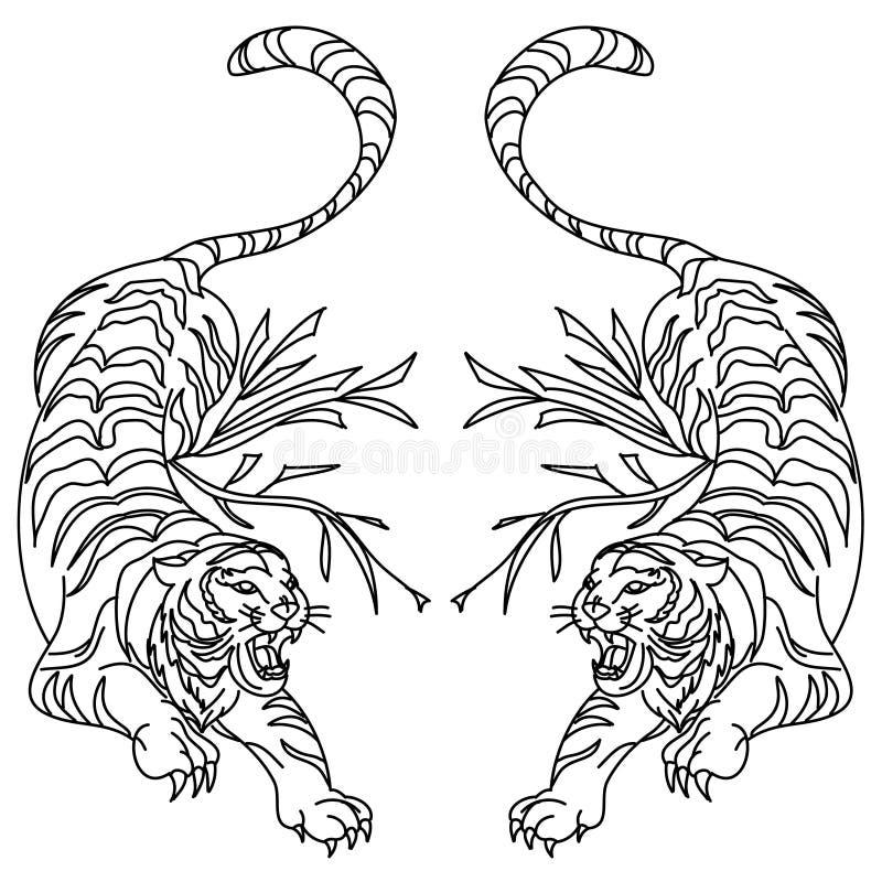 Ontwerp van de tijger het vectortatoegering op witte achtergrond vector illustratie
