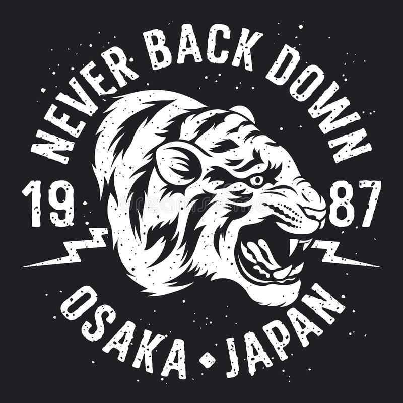Ontwerp 014 van de tijgert-shirt stock illustratie
