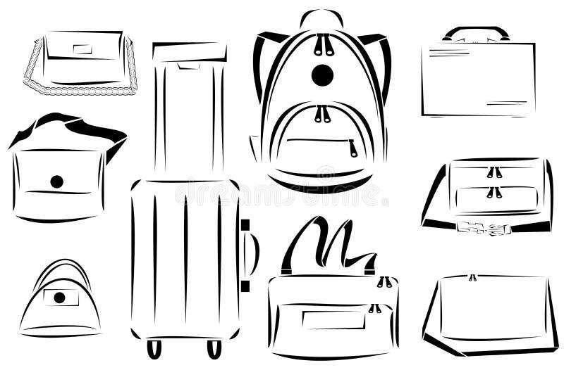 Ontwerp van de vectorreeks van het zakkenpictogram stock illustratie