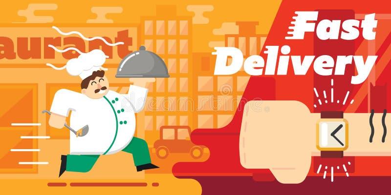Ontwerp van de voedsel het snelle levering, vectorillustratie royalty-vrije illustratie