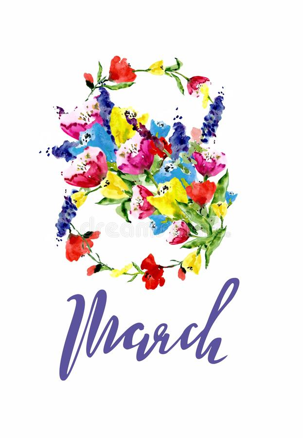 8 ontwerp van de de Vrouwen` s Dag van Maart het Internationale met het met de hand geschreven van letters voorzien stock afbeeldingen