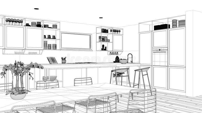 Ontwerp van een blauwdruk-project, minimalistisch keukenontwerp voor penthouse, interieurontwerp voor de keuken, eiland en ontlas vector illustratie