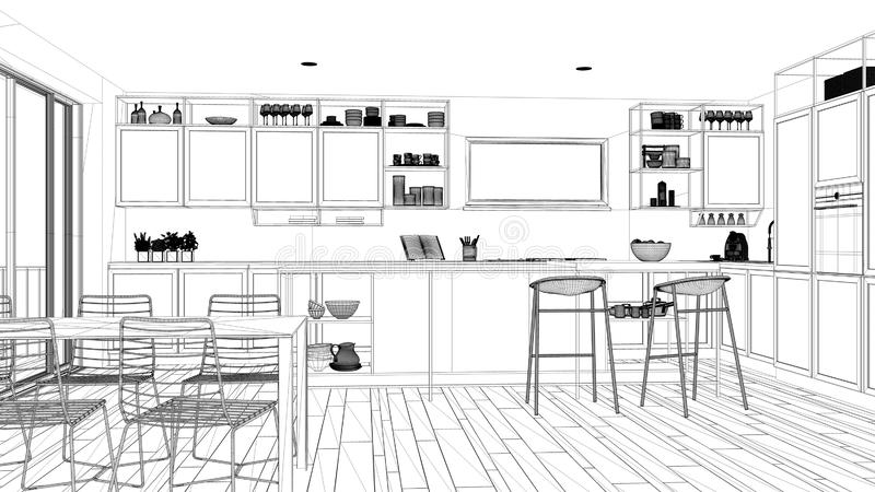 Ontwerp van een blauwdruk-project, minimalistisch keukenontwerp voor penthouse, interieurontwerp voor de keuken, eiland en ontlas stock illustratie