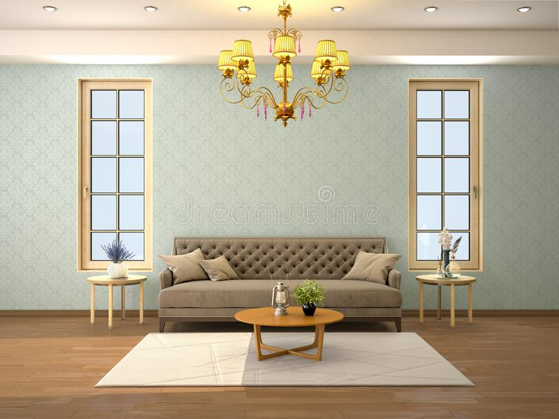 Ontwerp van een woonkamer met een bank en twee vensters royalty-vrije stock afbeeldingen