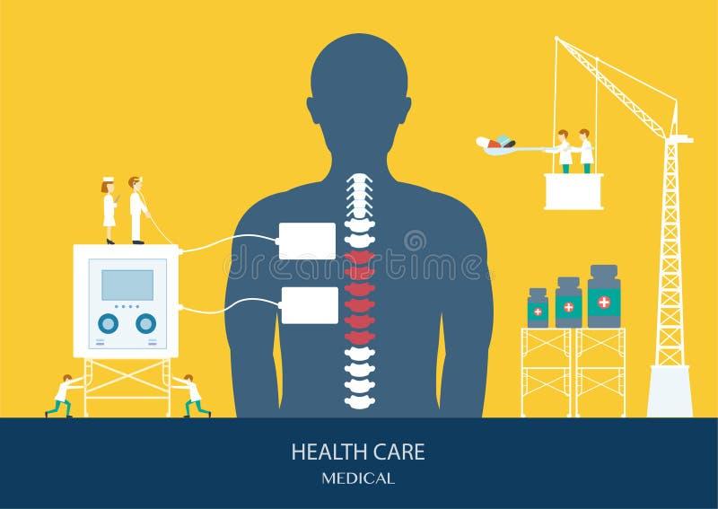 Ontwerp van gezondheidszorgconcept, stekel, rugpijn royalty-vrije illustratie