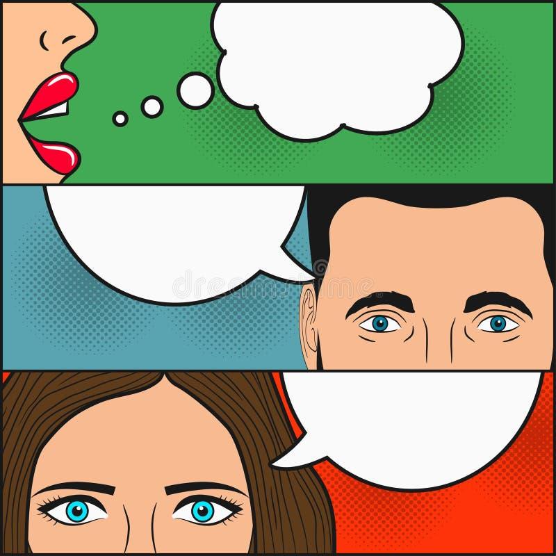 Ontwerp van grappige boekpagina Dialoog van twee meisjes en de mens met lege toespraakbellen voor tekst Vrouwen` s lippen, vrouwe stock illustratie