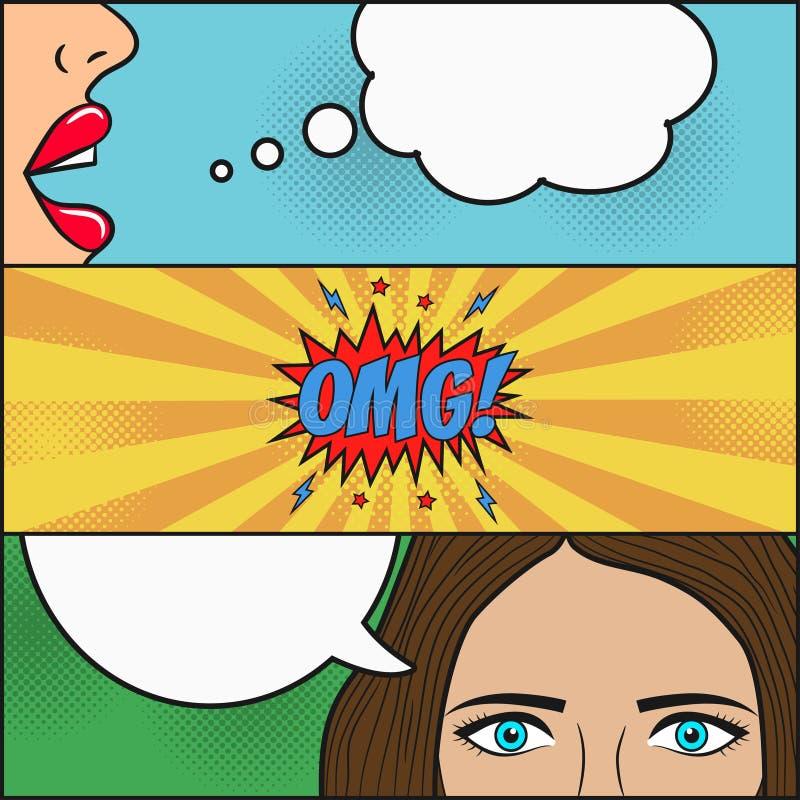 Ontwerp van grappige boekpagina Dialoog van twee meisjes met toespraakbel met emoties - OMG Lippen en gezicht met ogen van vrouw  stock illustratie