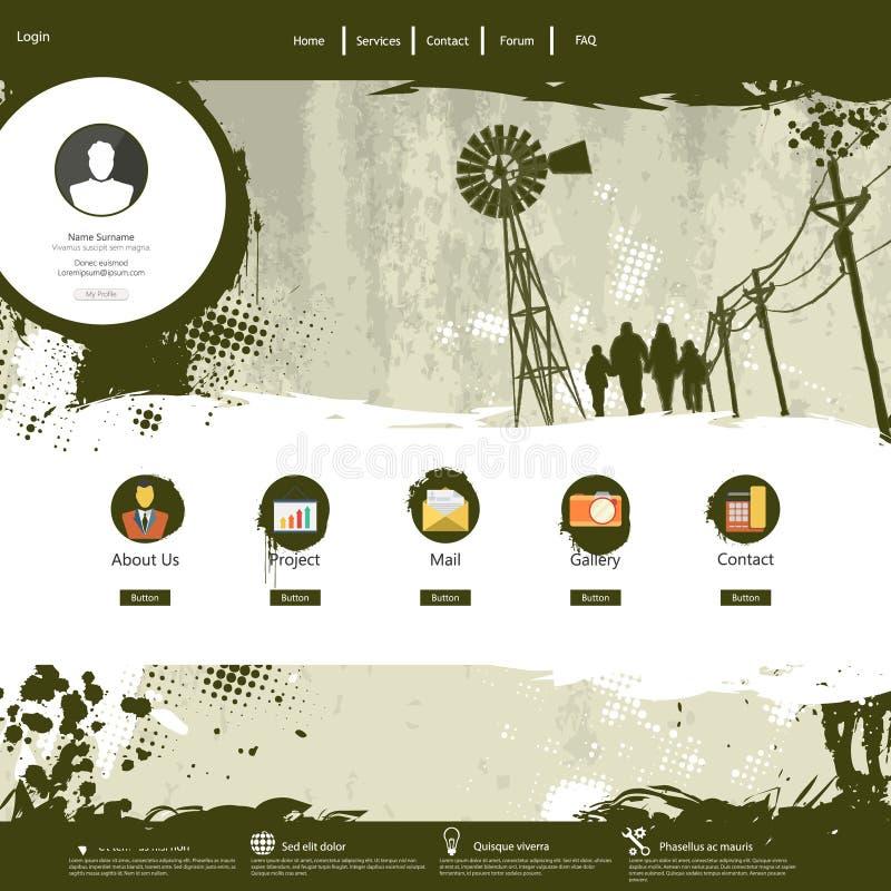 Ontwerp van /Grunge van het websitemalplaatje het kleurrijke professionele royalty-vrije illustratie