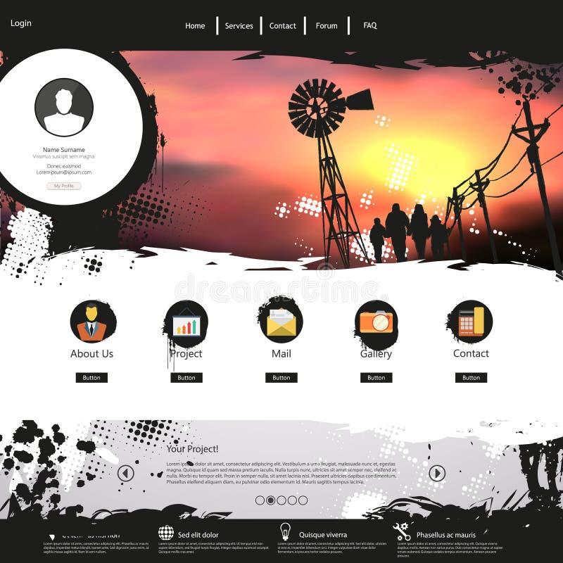 Ontwerp van /Grunge van het websitemalplaatje het kleurrijke professionele vector illustratie