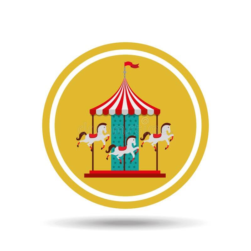 ontwerp van het carrousel het paarden geïsoleerde pictogram royalty-vrije illustratie