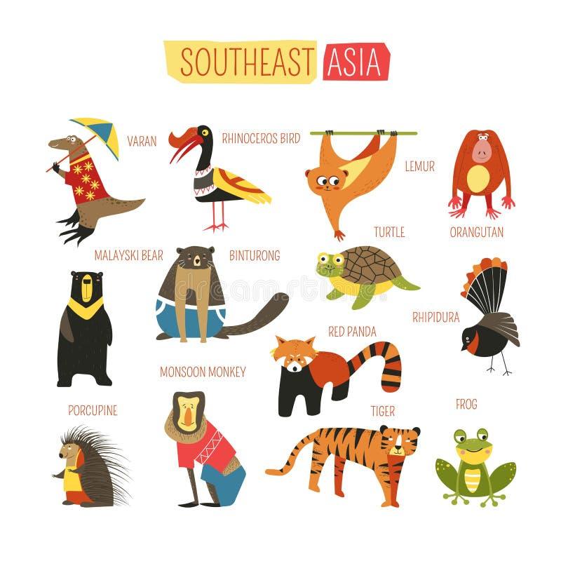 Ontwerp van het de dieren het vectorbeeldverhaal van Zuidoost-Azië stock illustratie