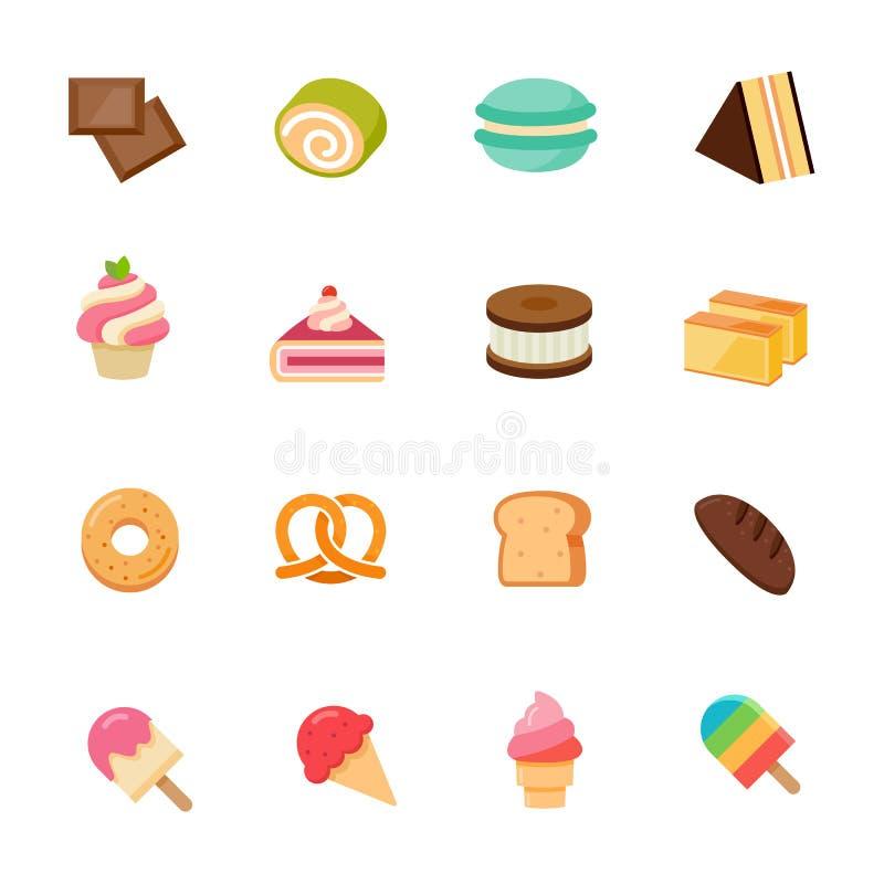 Ontwerp van het de kleuren vlakke pictogram van het dessertpictogram het volledige. stock illustratie