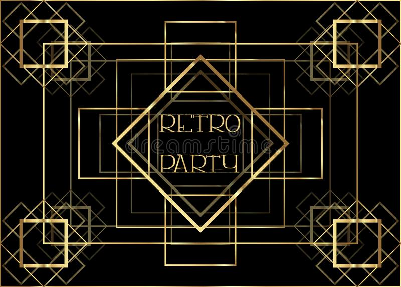 Ontwerp van het de uitnodigingsmalplaatje van Art Deco het uitstekende met illustratie van gouden geometrisch motief Patronen en  royalty-vrije illustratie