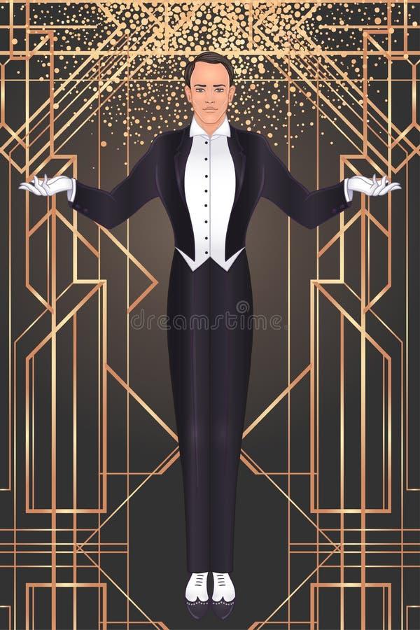 Ontwerp van het de uitnodigingsmalplaatje van Art Deco het uitstekende met illustratie van de mens Grote geïnspireerde Gatsby Pat vector illustratie