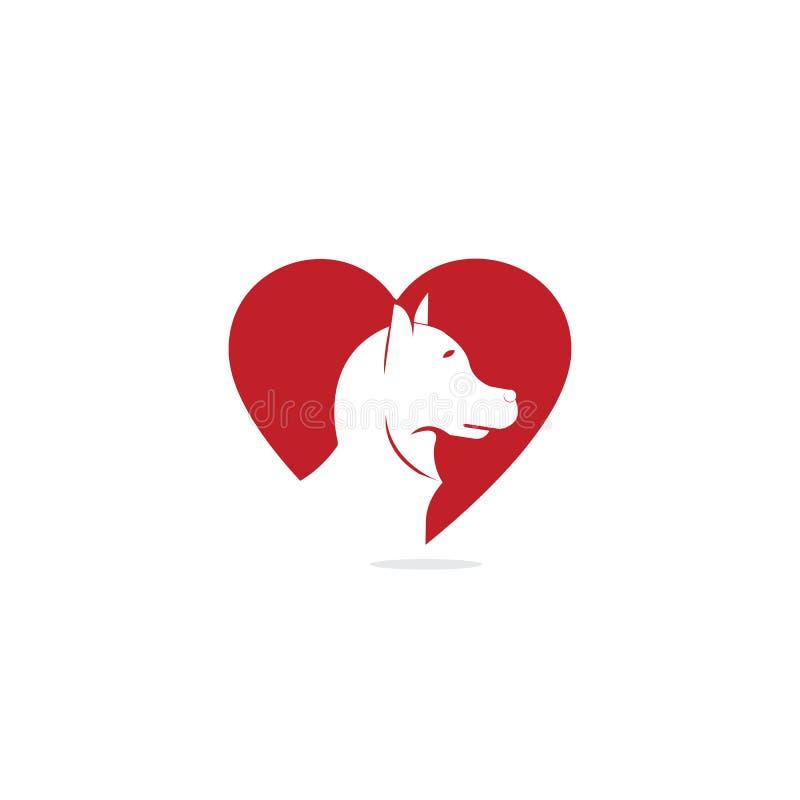 Ontwerp van het de vorm vectorembleem van het hond het hoofdhart Het embleemontwerp van de huisdierenzorg royalty-vrije illustratie