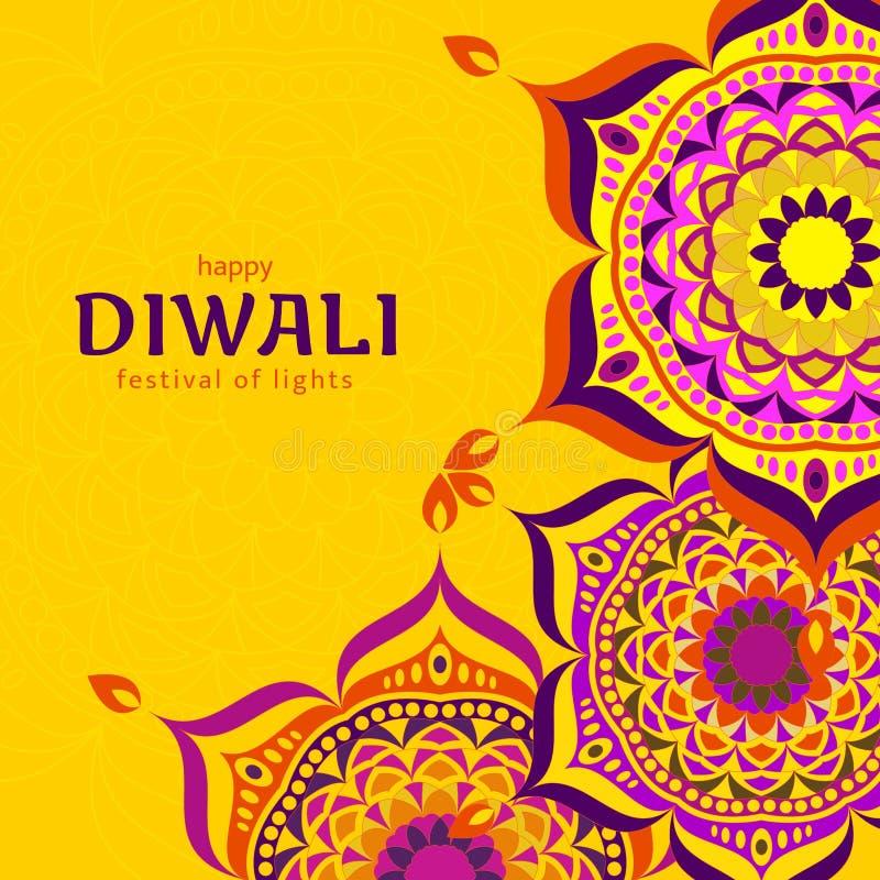 Ontwerp van het Diwali het lichte festival De groetkaart van het Diwali Hindoese festival stock illustratie