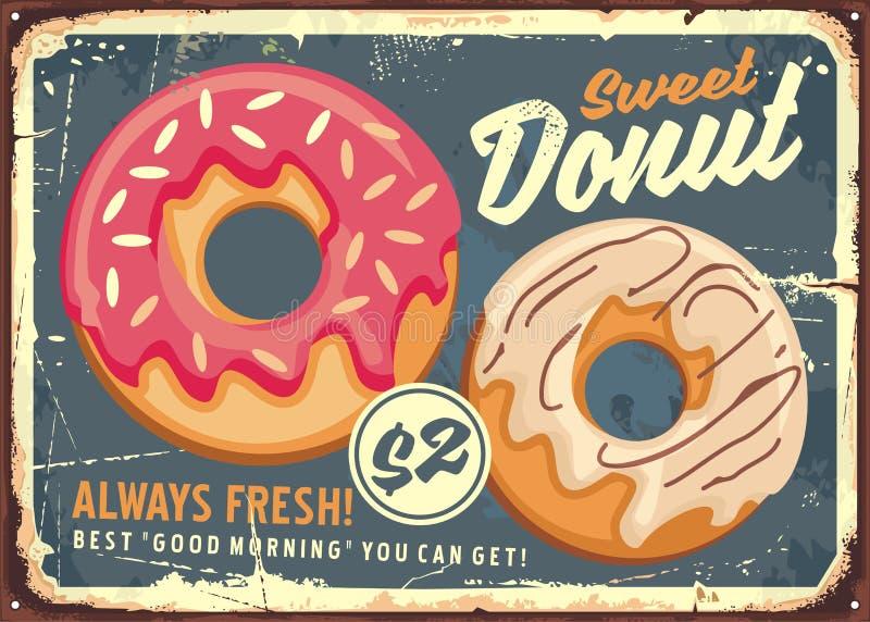 Ontwerp van het Donuts retro commerciële teken stock illustratie
