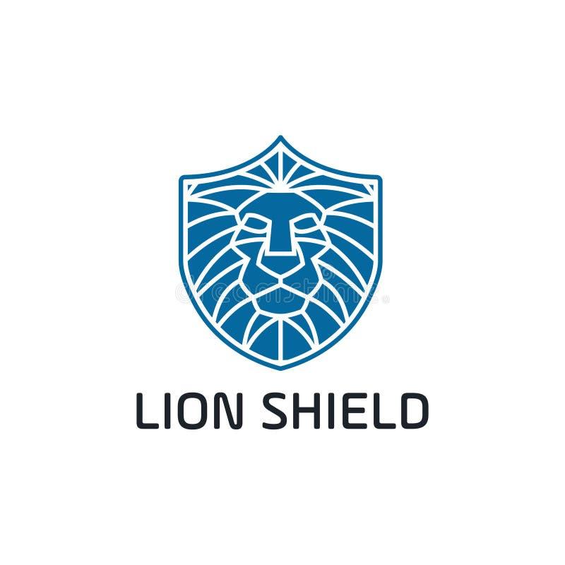 Ontwerp van het het embleemmalplaatje van het leeuw het hoofdschild Vector illustratie - Het vector vector illustratie