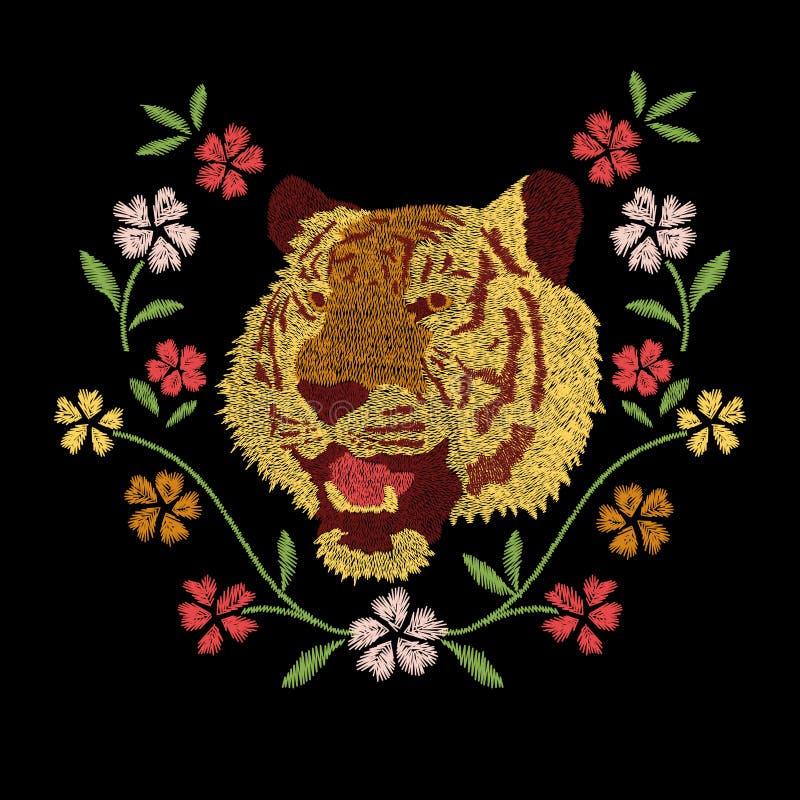 Ontwerp van het het borduurwerkkunstwerk van tijger het hoofd en kleurrijke bloemen stock illustratie