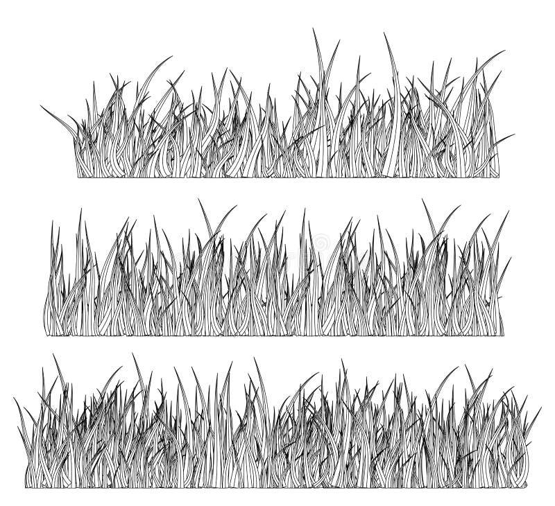 Ontwerp van het het symboolpictogram van het grassilhouet het vector royalty-vrije illustratie