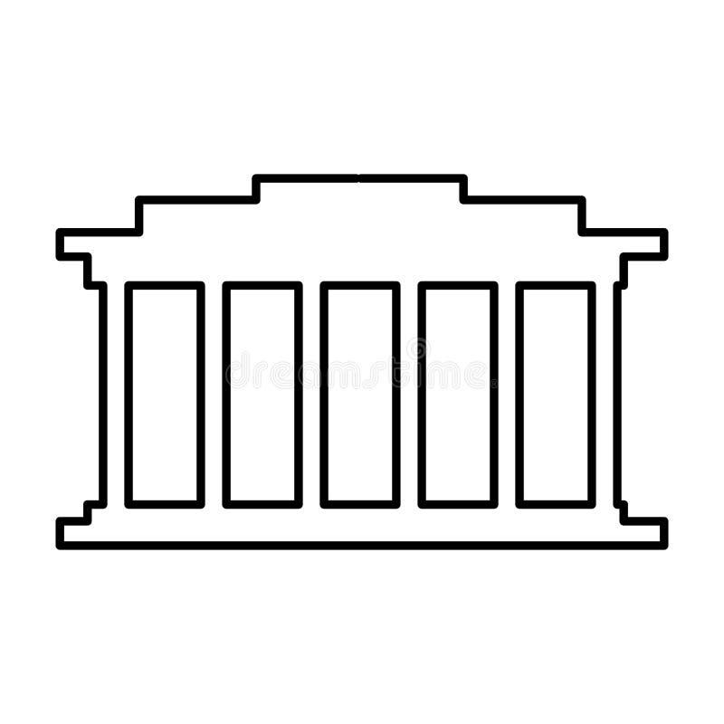 ontwerp van het hof het de bouw geïsoleerde pictogram royalty-vrije illustratie