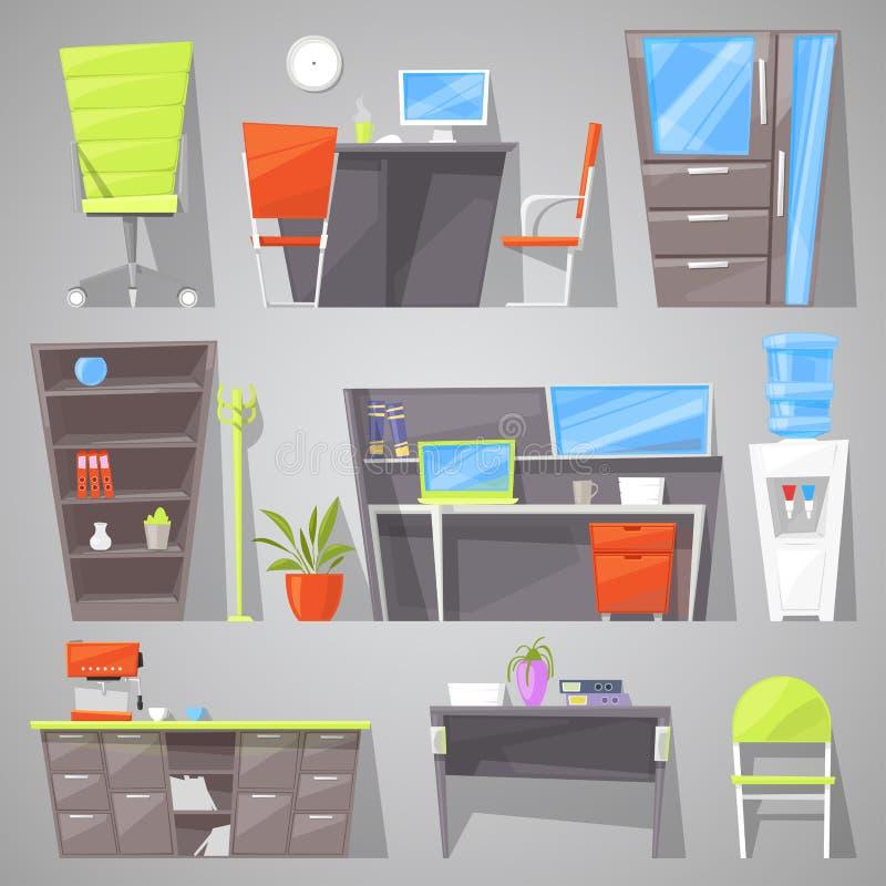 Ontwerp van het kantoormeubilair het vectormeubilair van lijststoel of leunstoel in geleverd binnenland van arbeiderskabinet royalty-vrije illustratie