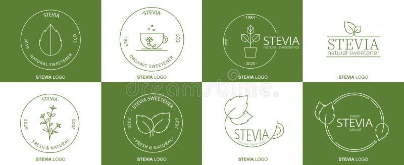 Ontwerp van het logo van Stevia Vector-lepel-pictogram Voedingssupplementen Gezonde biologische natuurlijke levensmiddelen stock illustratie