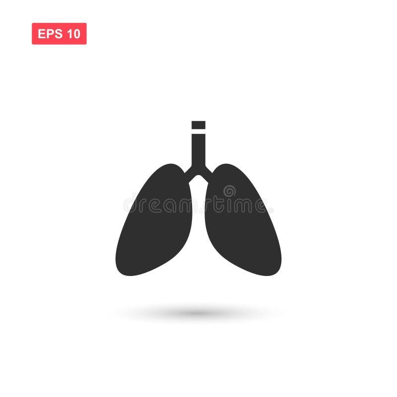 Ontwerp van het longen isoleerde het vectorpictogram 2 royalty-vrije illustratie