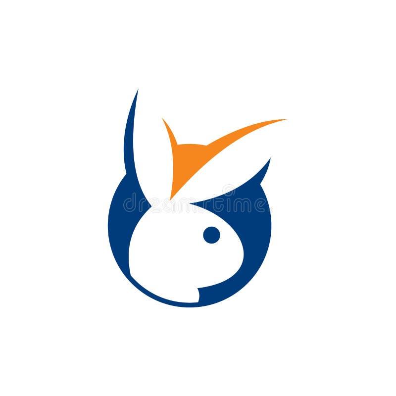 Ontwerp van het het malplaatje het vectorpictogram van het konijnembleem, konijnembleem, van het het malplaatje vectorpictogram v stock illustratie