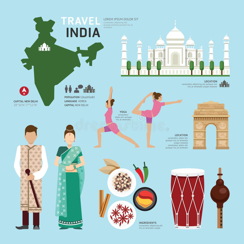 Ontwerp van het Oriëntatiepunt het Vlakke Pictogrammen van India van het reisconcept Vector stock illustratie