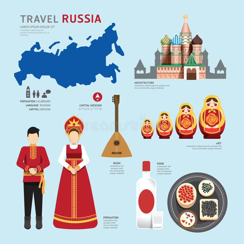 Ontwerp van het Oriëntatiepunt het Vlakke Pictogrammen van Rusland van het reisconcept Vector royalty-vrije illustratie