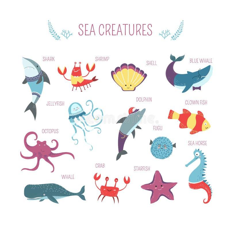 Ontwerp van het overzeese vissen en dierenschepselen het vectorbeeldverhaal vector illustratie
