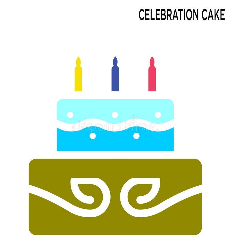 Ontwerp van het het pictogramsymbool van de vieringscake het editable stock illustratie