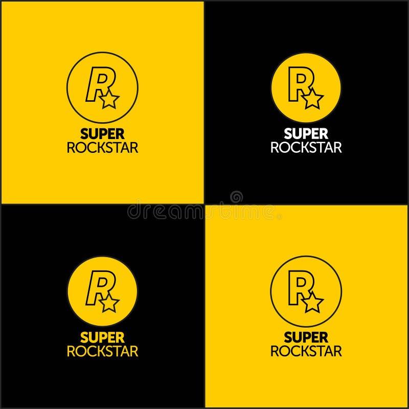 ONTWERP VAN HET SUPER ROCKSTAR-logo voor uw bedrijf, druk en logo vectorpictogramletter r vector illustratie