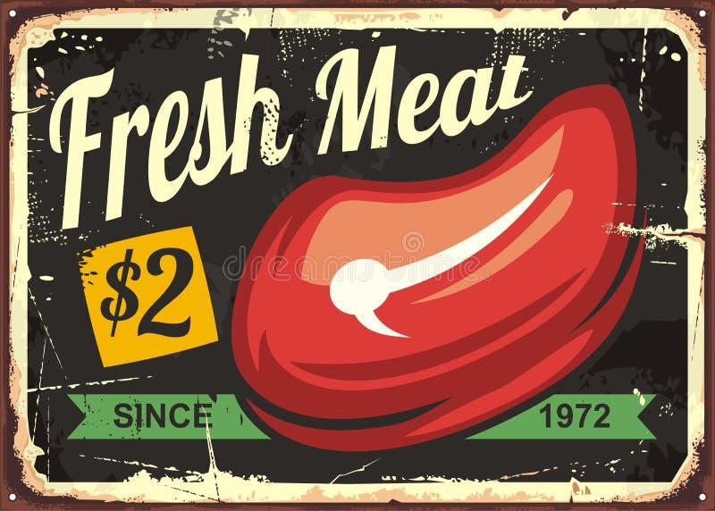 Ontwerp van het vers vlees het uitstekende teken voor slagerij stock illustratie