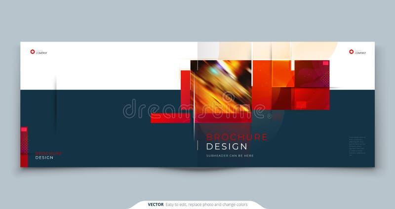 Ontwerp van horizontale brochure-sjabloon. Landscape Corporate Business Annual report, catalog, magazine, flyer mockup royalty-vrije illustratie